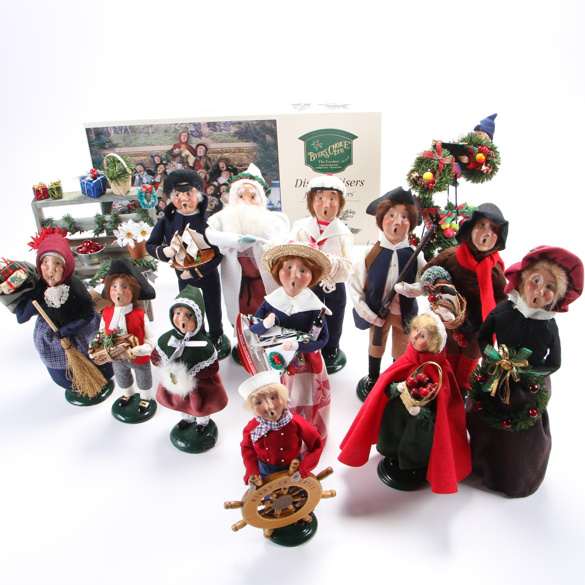 """Byers' Choice """"The Carolers"""" Figurines with Display Risers,"""