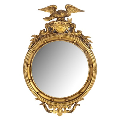 Federal Style Gilt Wood and Composition Convex Mirror, 20th Century