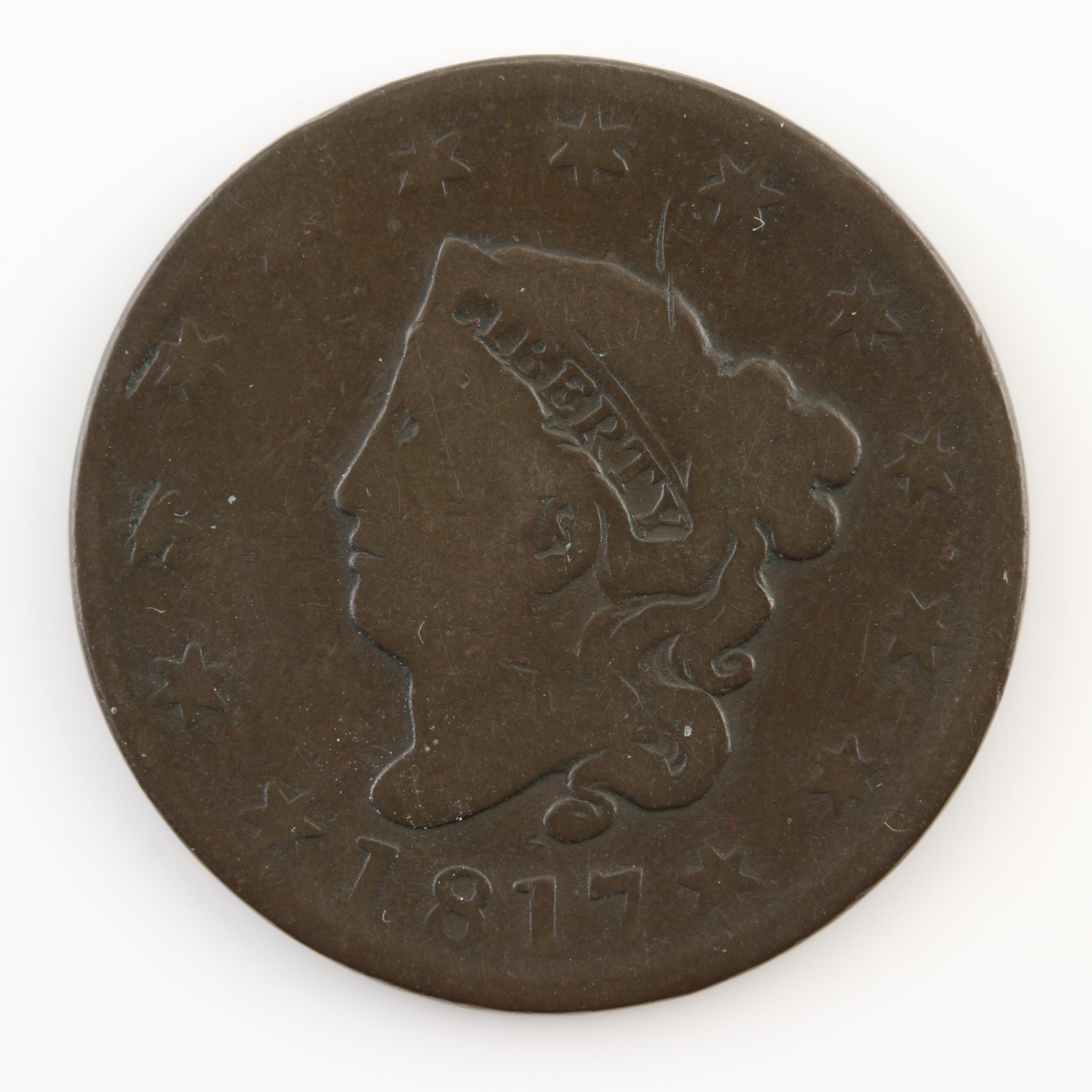 1817 Matron Head Large Cent 13 Stars