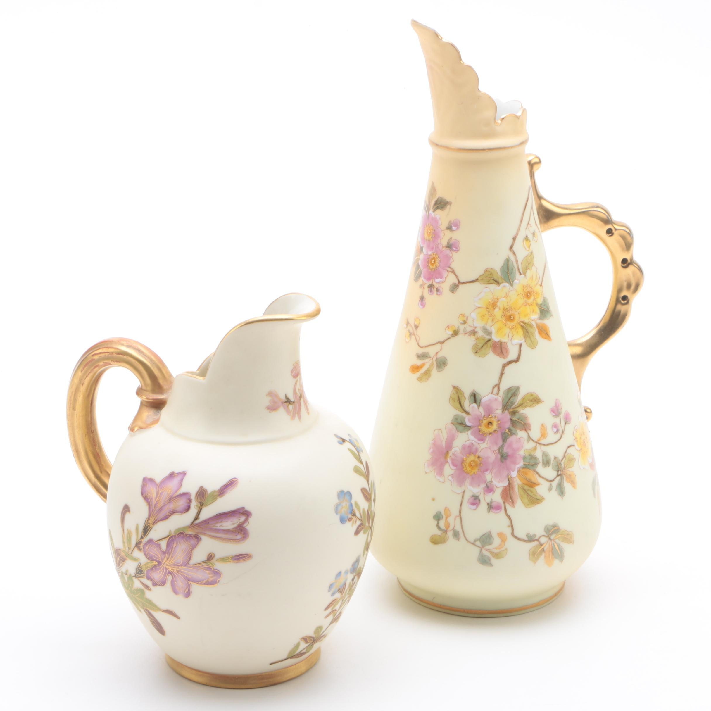 Antique Royal Worcester with Vintage Rudolstadt Porcelain Pitchers