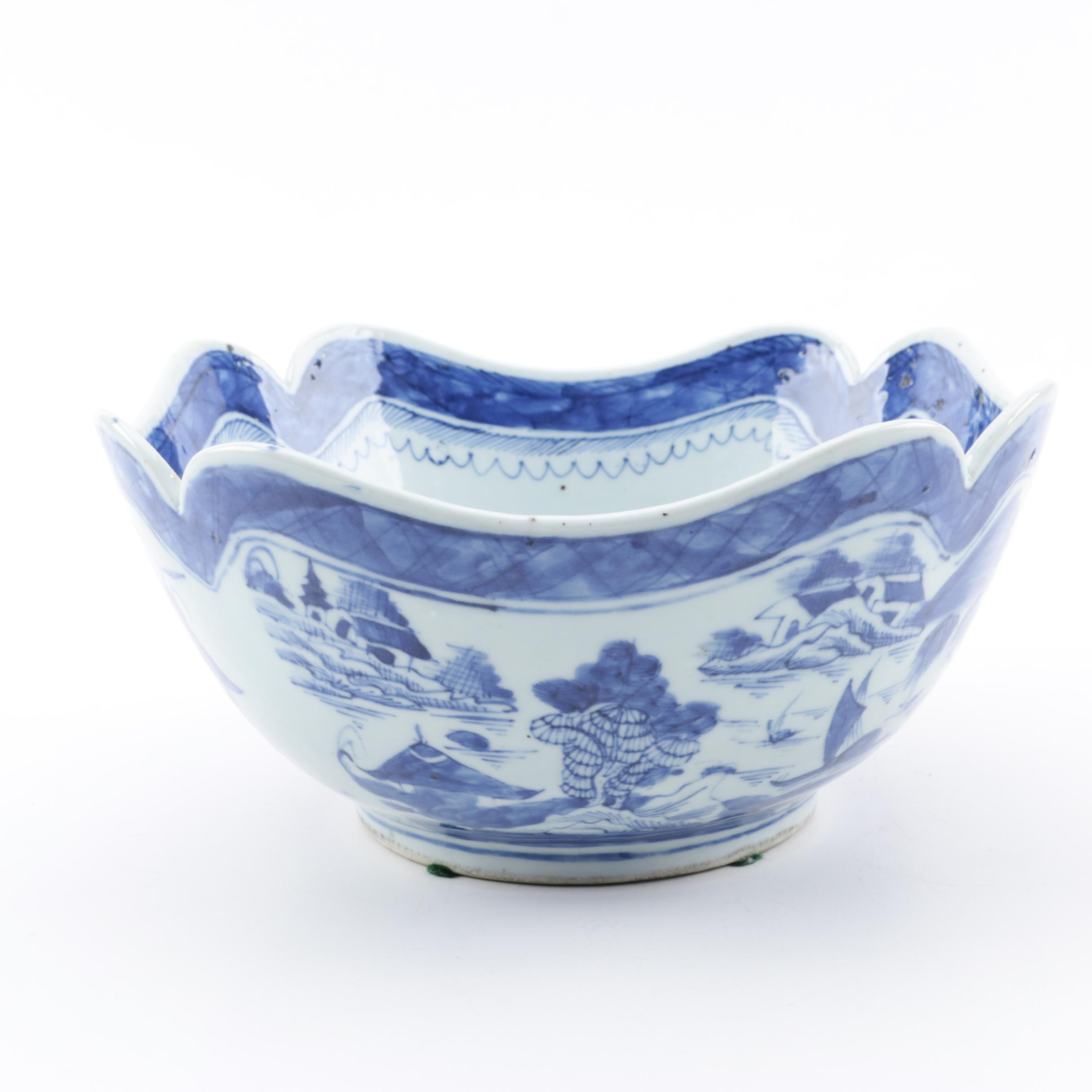 Chinese Canton Style Blue and White Porcelain Bowl