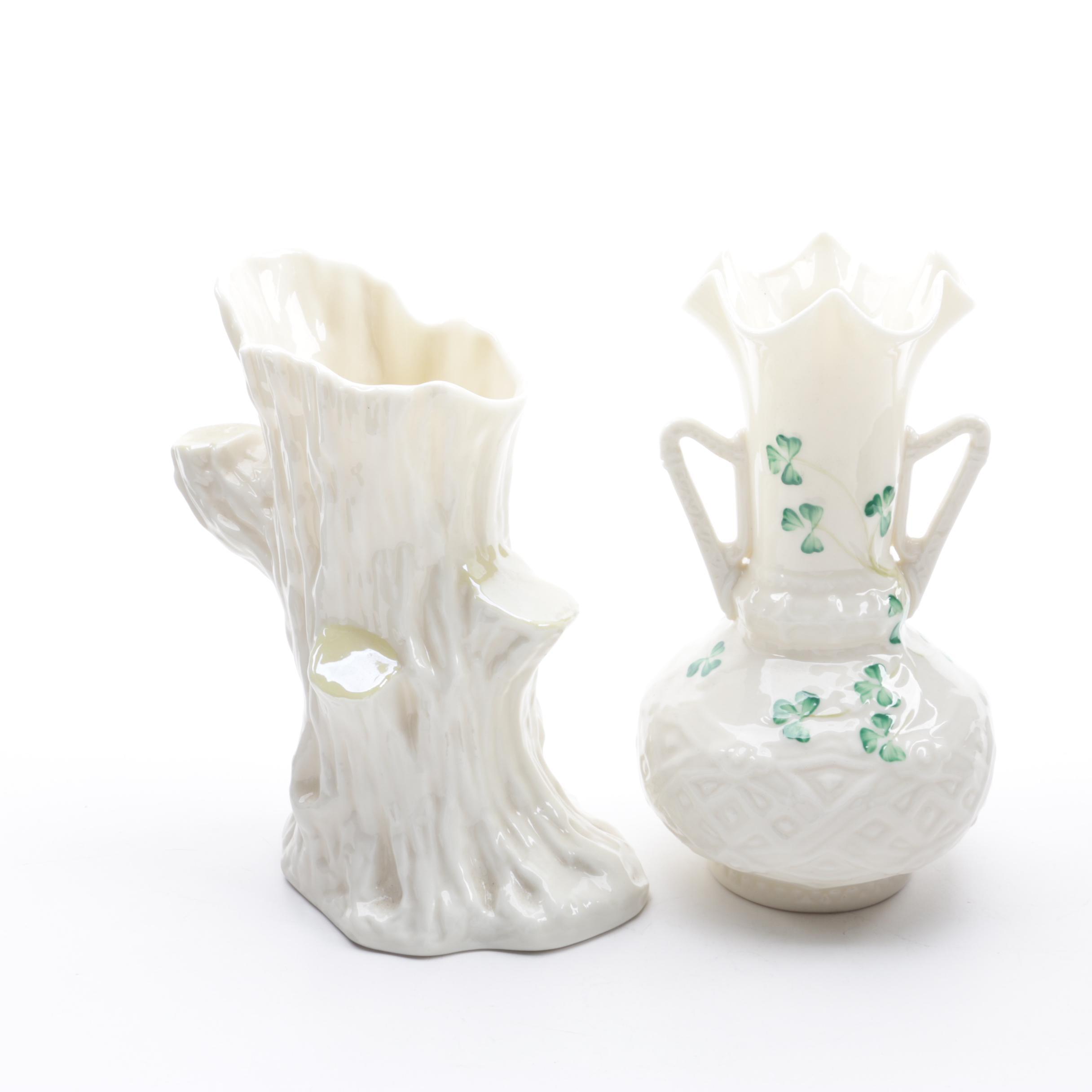 """Vintage Belleek """"Shamrock"""" and """"Old Oak"""" Porcelain Vases"""