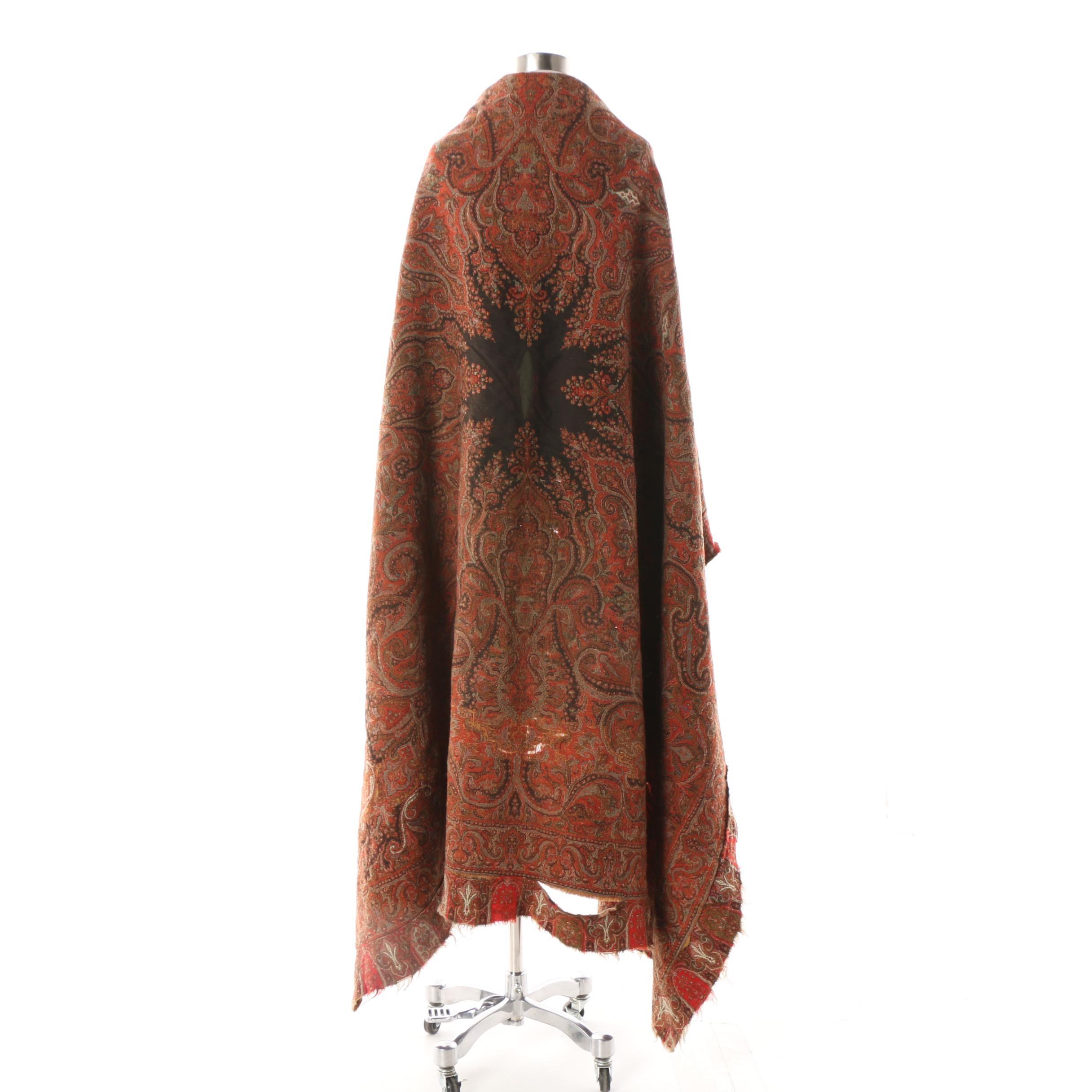 Antique Kashmiri Paisley Pashmina Wool Shawl