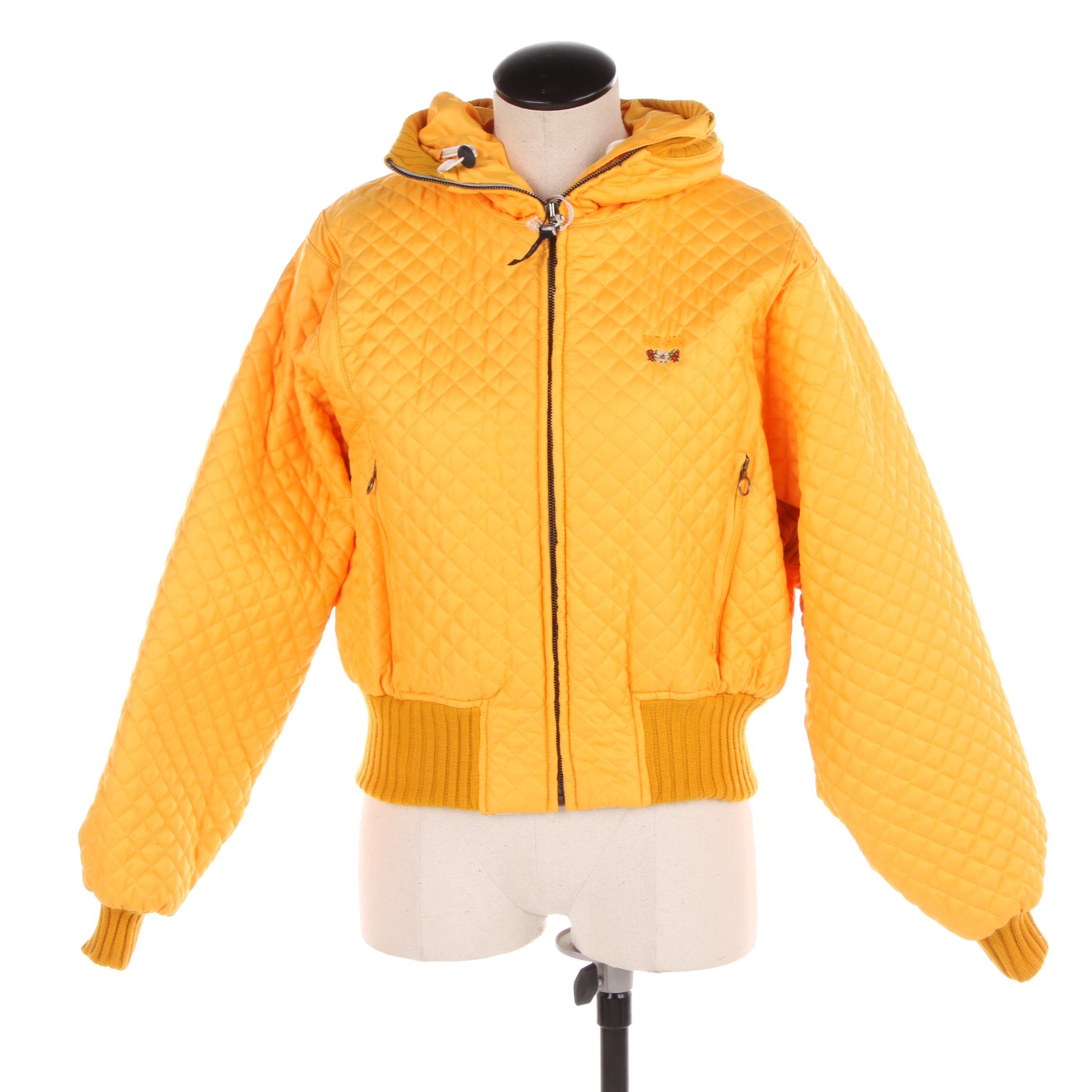 Women's Post Card Orange Diamond Quilted Ski Jacket