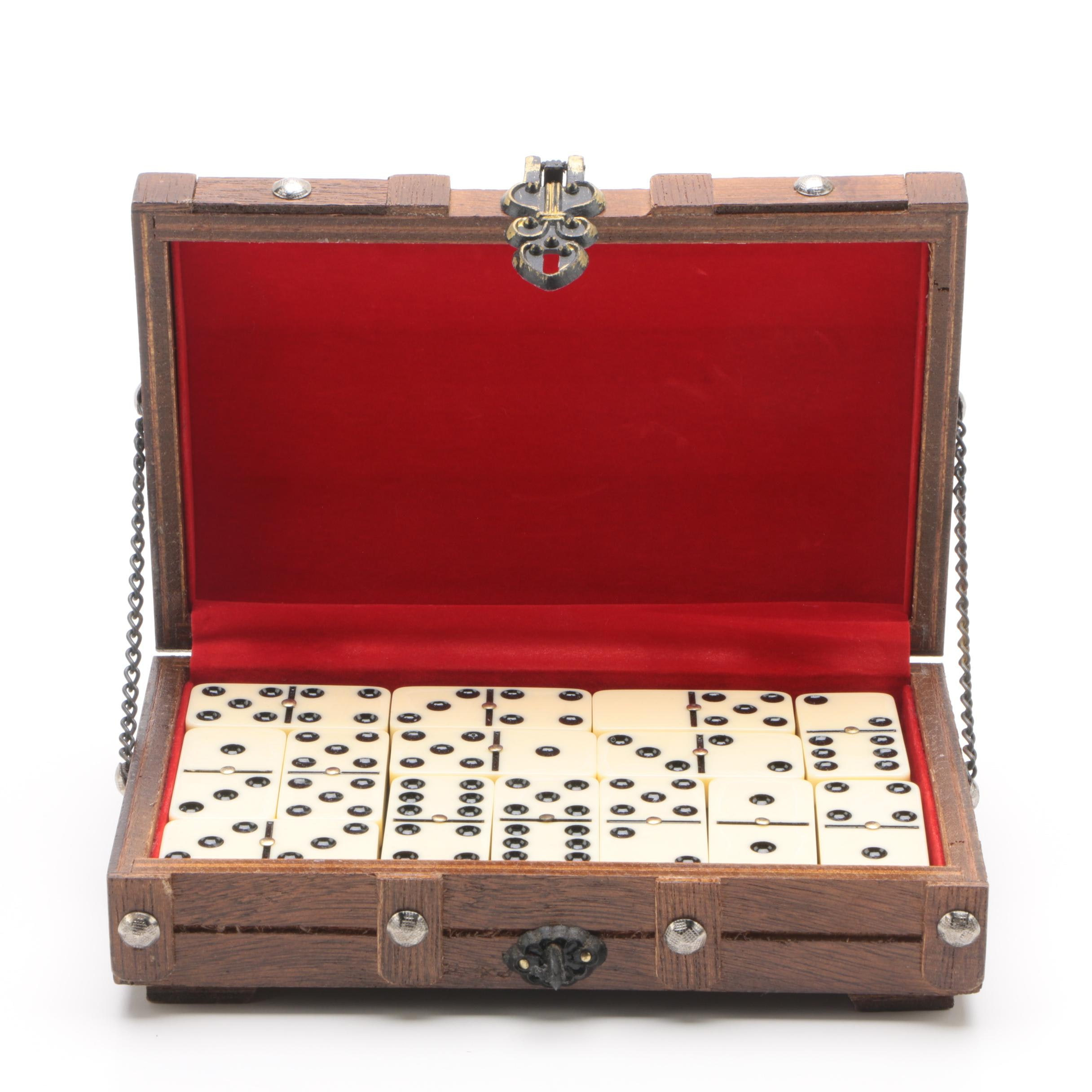 Domino Set with Dome-Top Chest Style Carrying Case