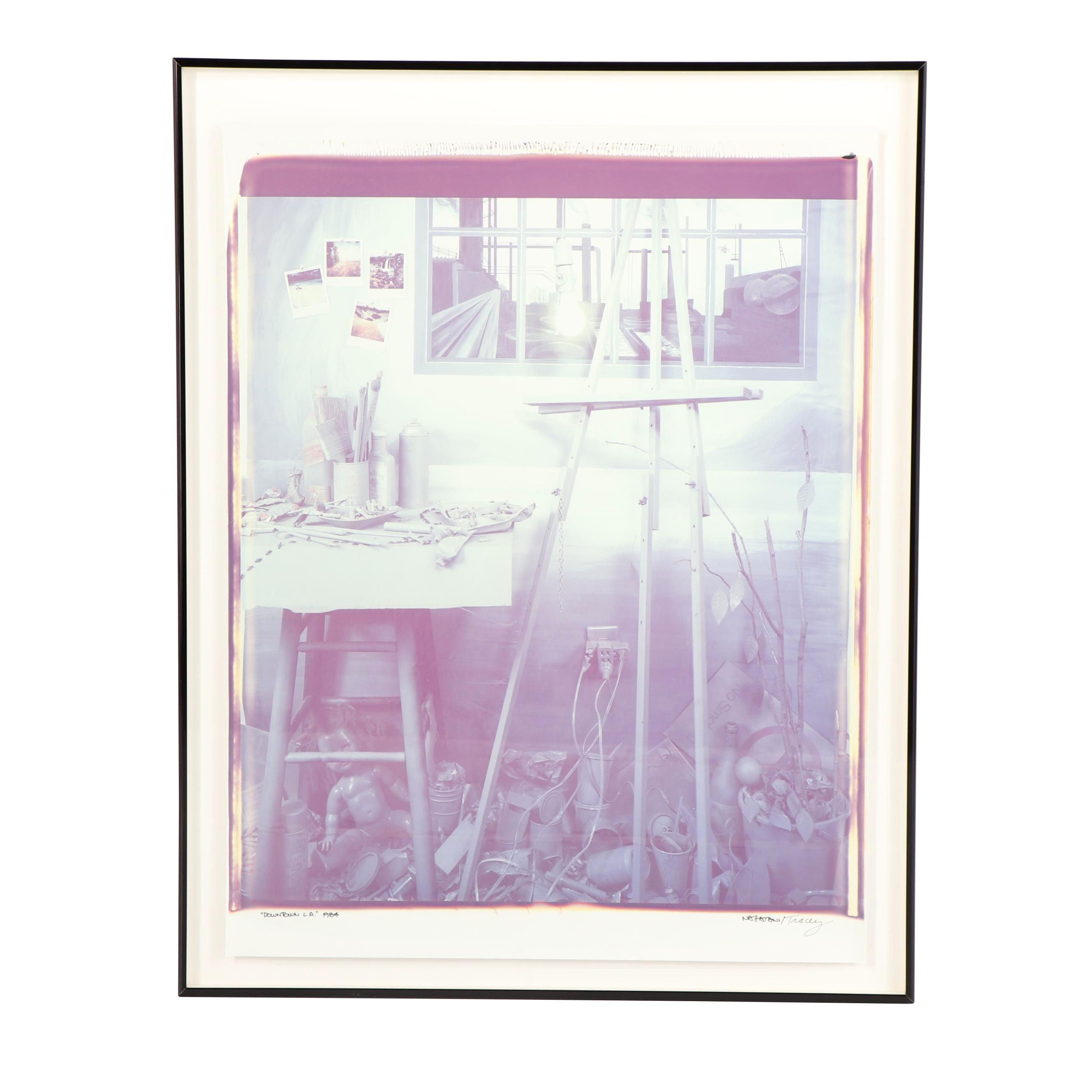 "Patrick Nagatani and Andrée Tracey 1984 Polaroid ""Downtown LA"""