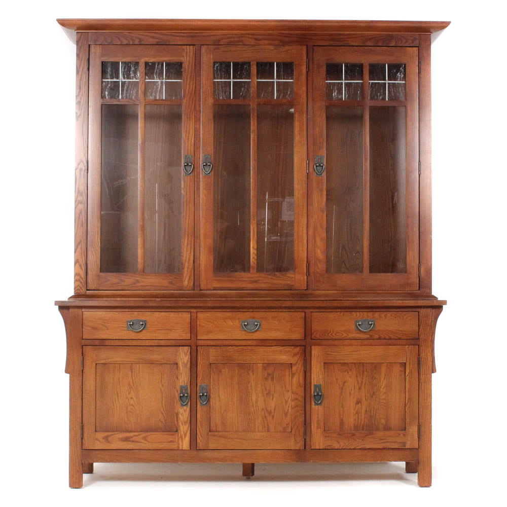 Arts And Crafts Style Solid Oak And Ash China Cabinet By Kincaid ...