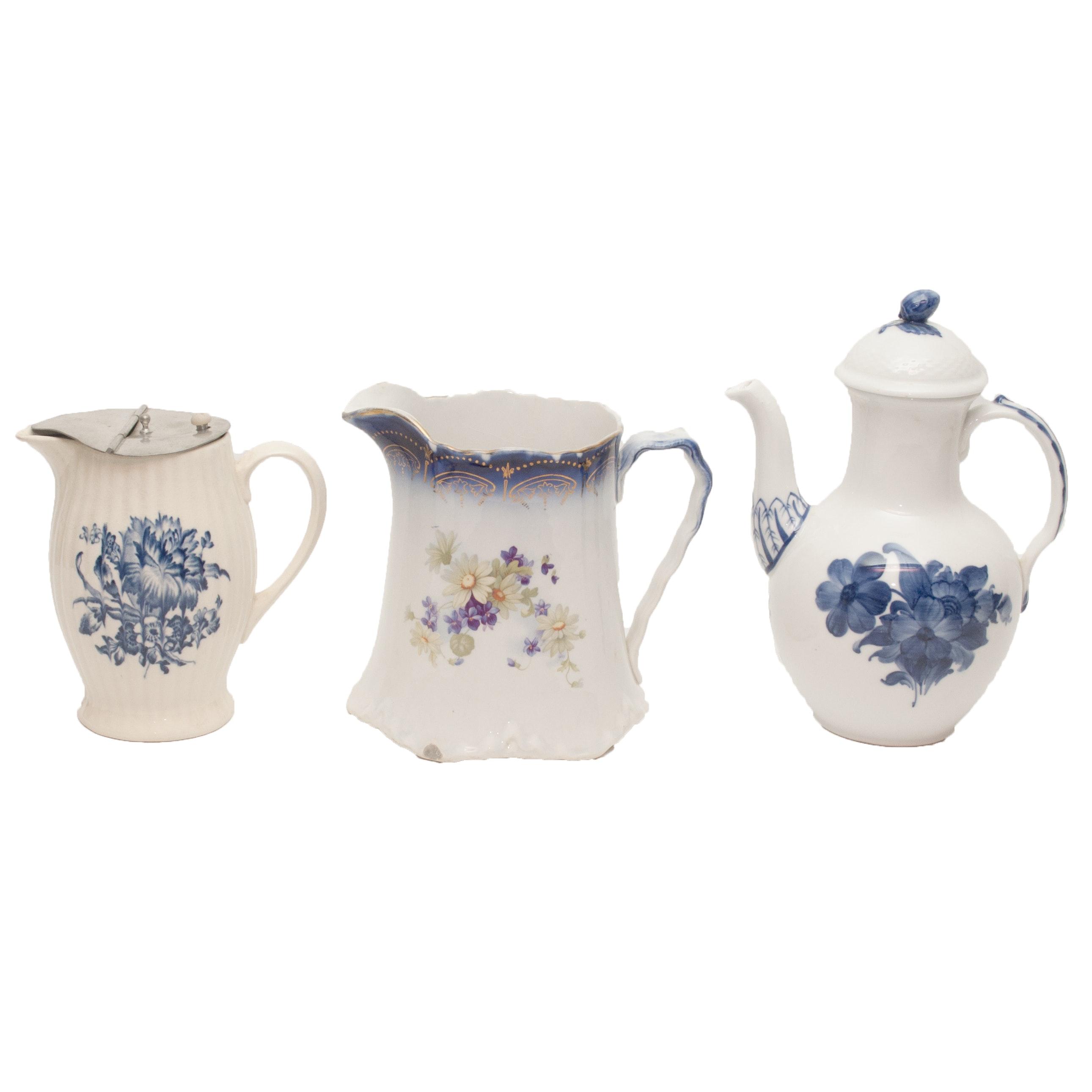 "Royal Copenhagen ""Blue Flowers"" Coffee Pot and Vintage Pitchers"
