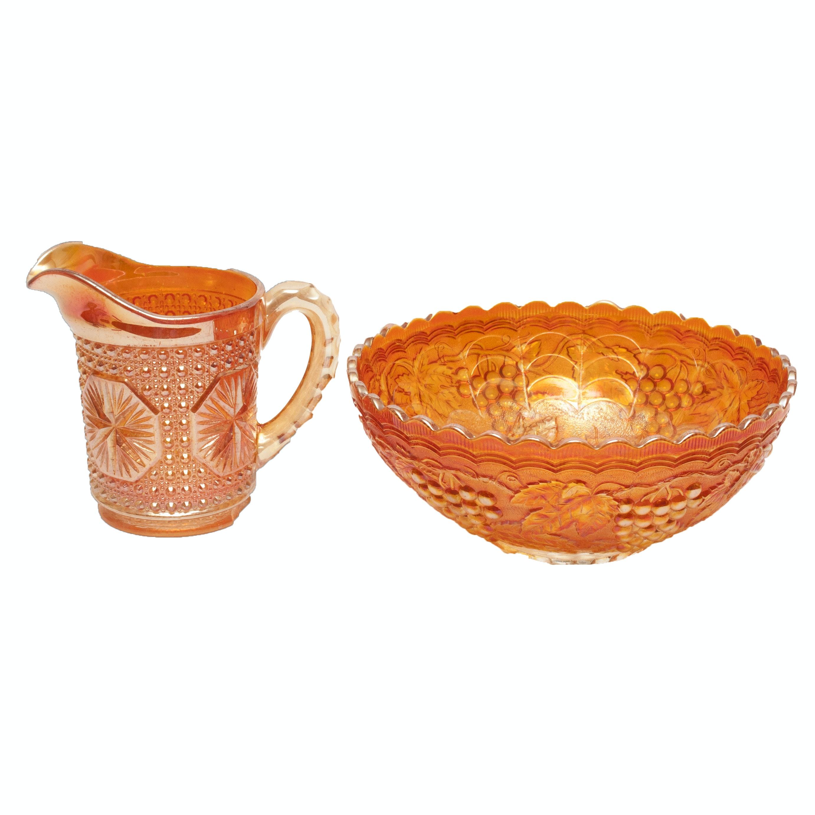 "Vintage Marigold Carnival Glass ""Vintage Carnival"" Bowl and ""Amelia"" Pitcher"