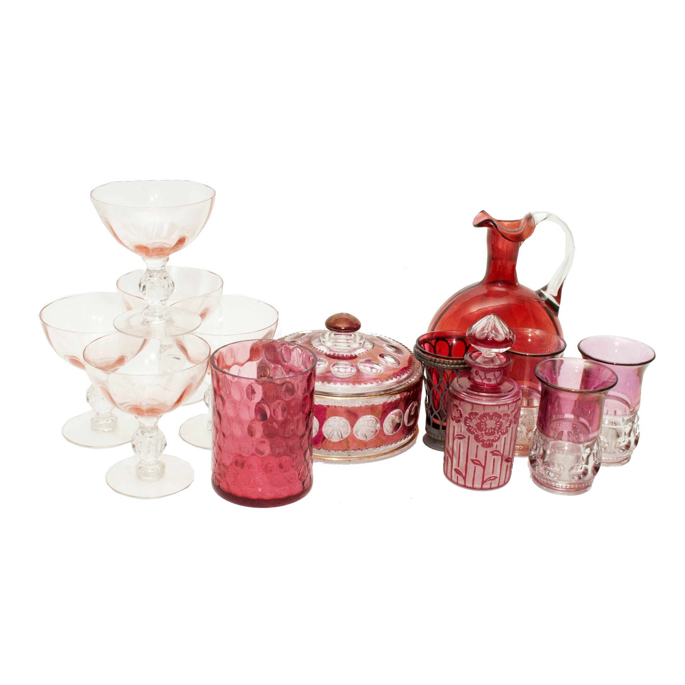 "Glassware including Tiffin-Franciscan ""King's Crown"" Cranberry Flashed Glasses"