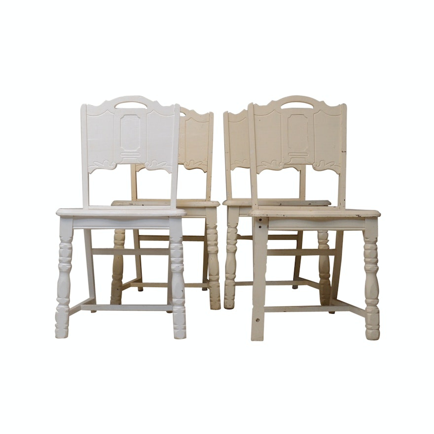 Four White Painted Wooden Kitchen Chairs