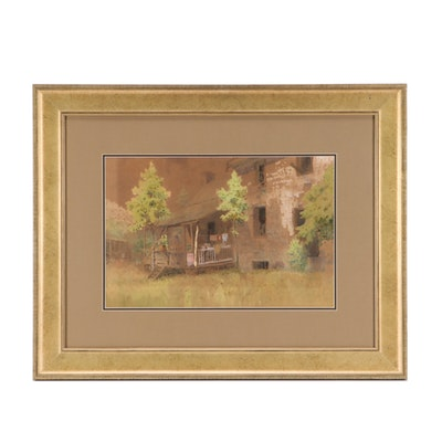 Paul Sawyier Watercolor Painting of a Wooden Cabin and Porch