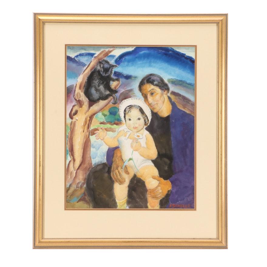 """Alice Schille Watercolor Painting """"White Bonnet"""""""