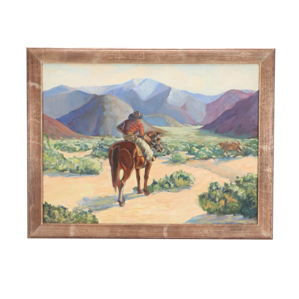 Robert Whitmore Oil Painting of Cowboy in Landscape