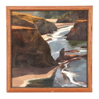 "Paul Chidlaw Oil Landscape Painting ""Mendocino Coast"""