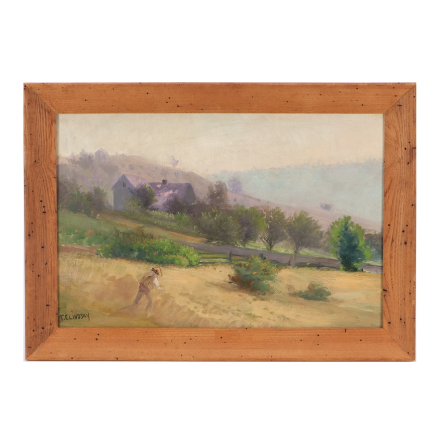 "T. C. Lindsay Oil Painting ""In the Fields"""