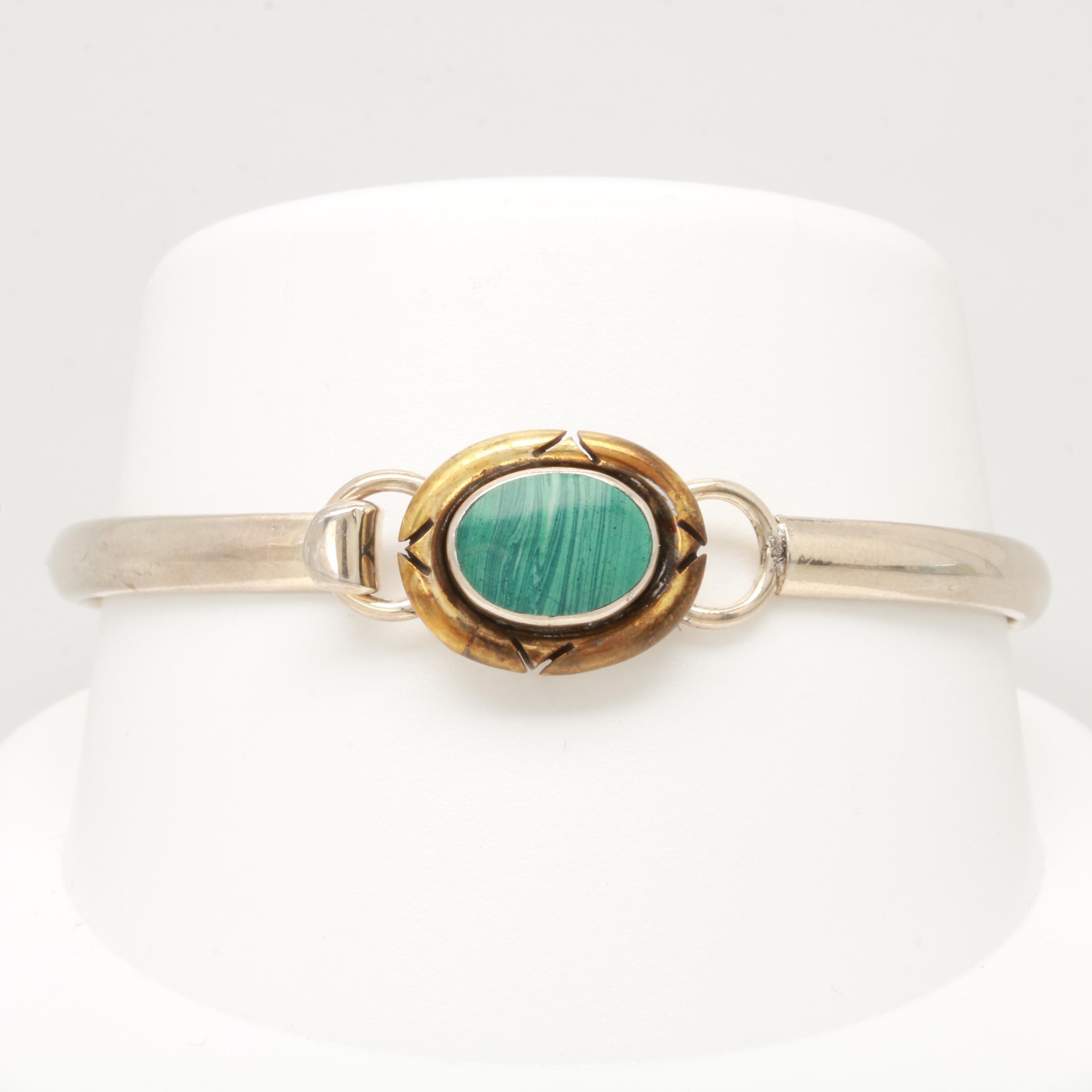 Mexican Sterling Silver Imitation Malachite Bangle Bracelet