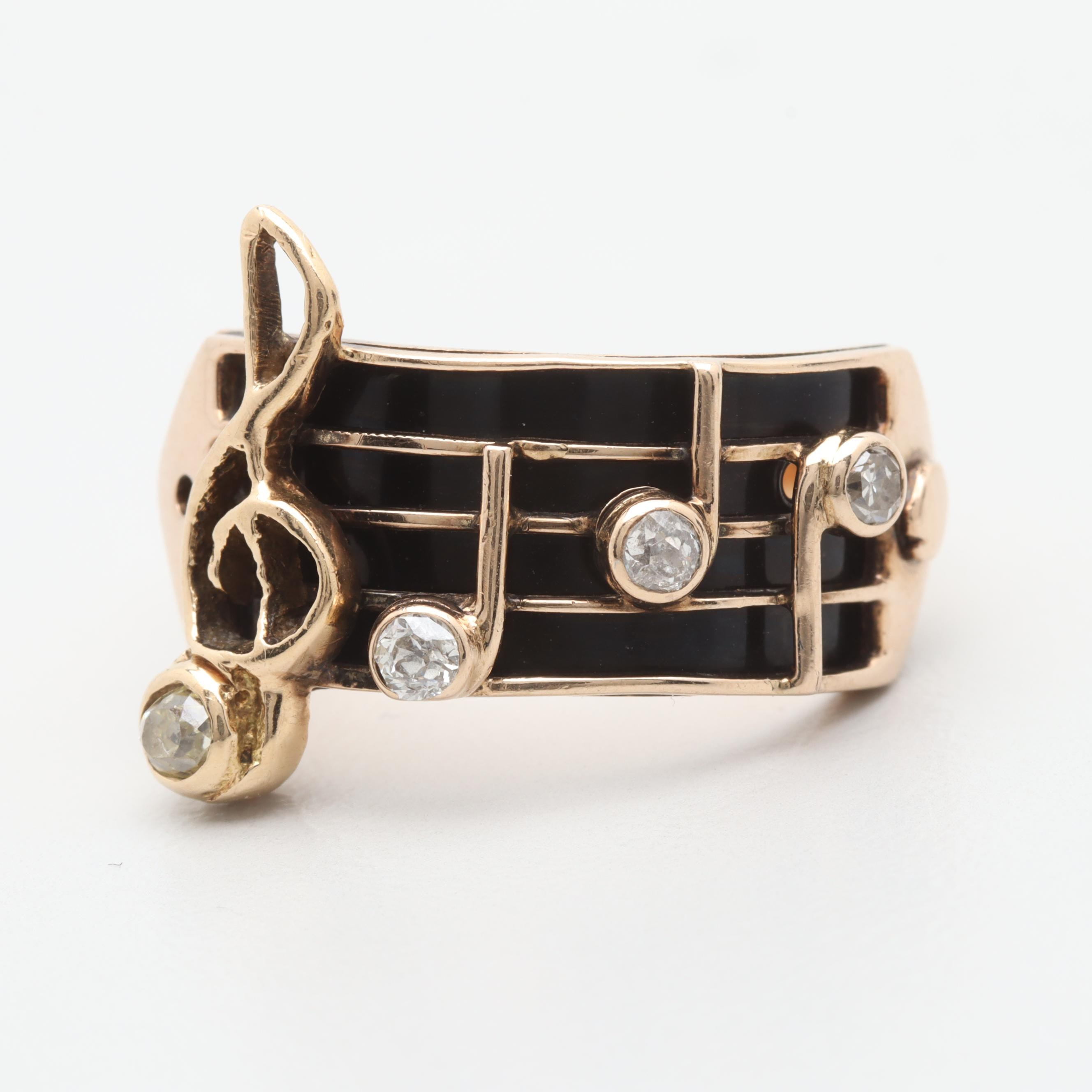 Vintage 14K Yellow Gold Diamond and Enamel Music Scale Ring