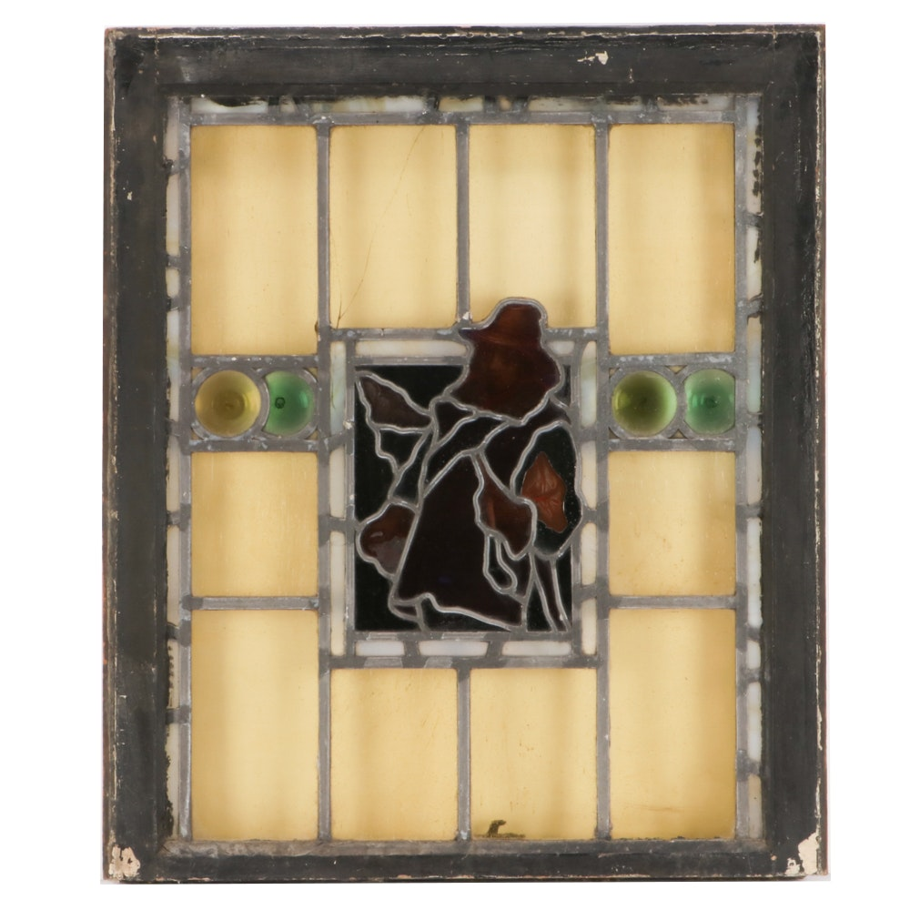 Antique Handmade Leaded Stained Glass Window with Hand-painting and Rondelles