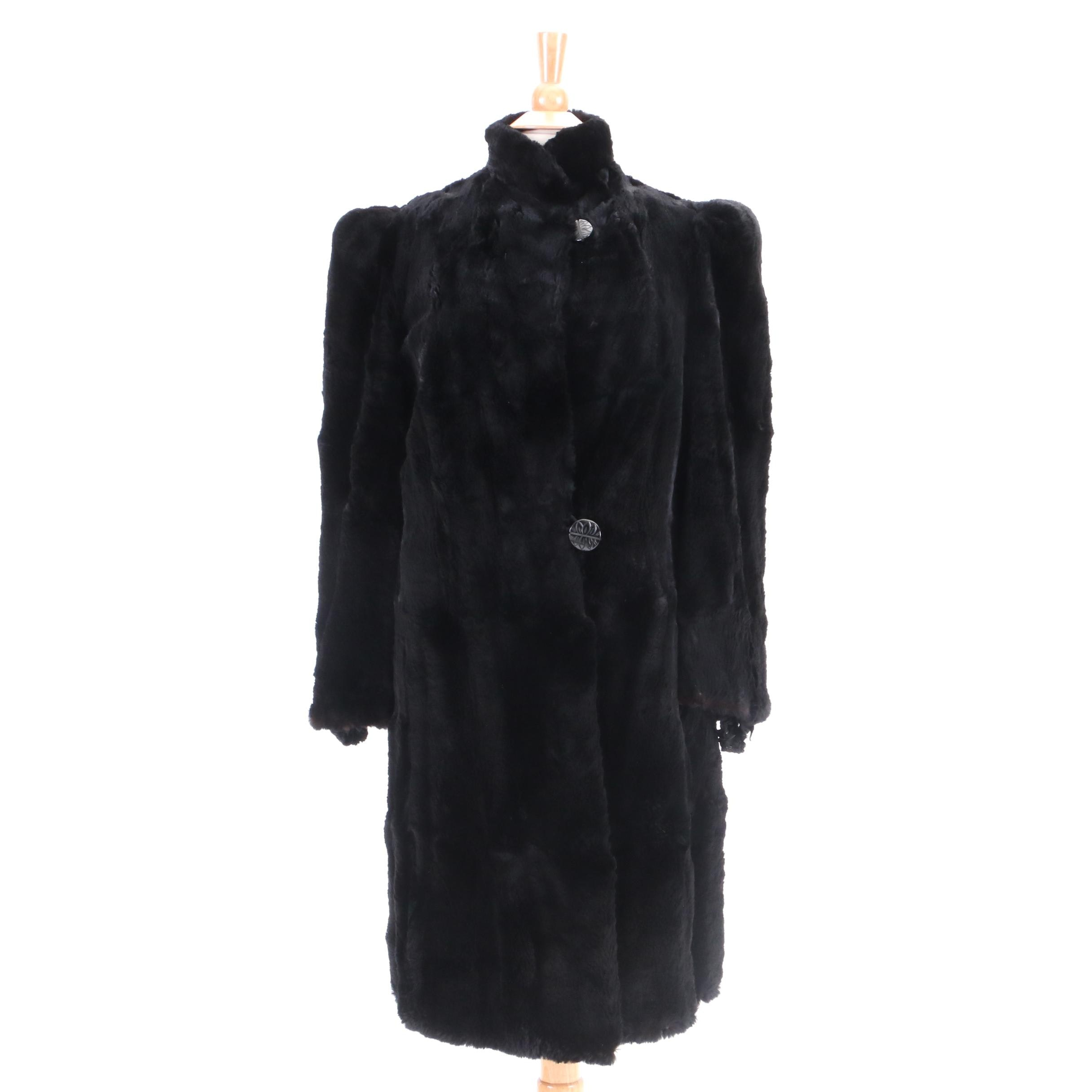 Circa 1940s Vintage Stern's Seal Dyed Rabbit Fur Coat
