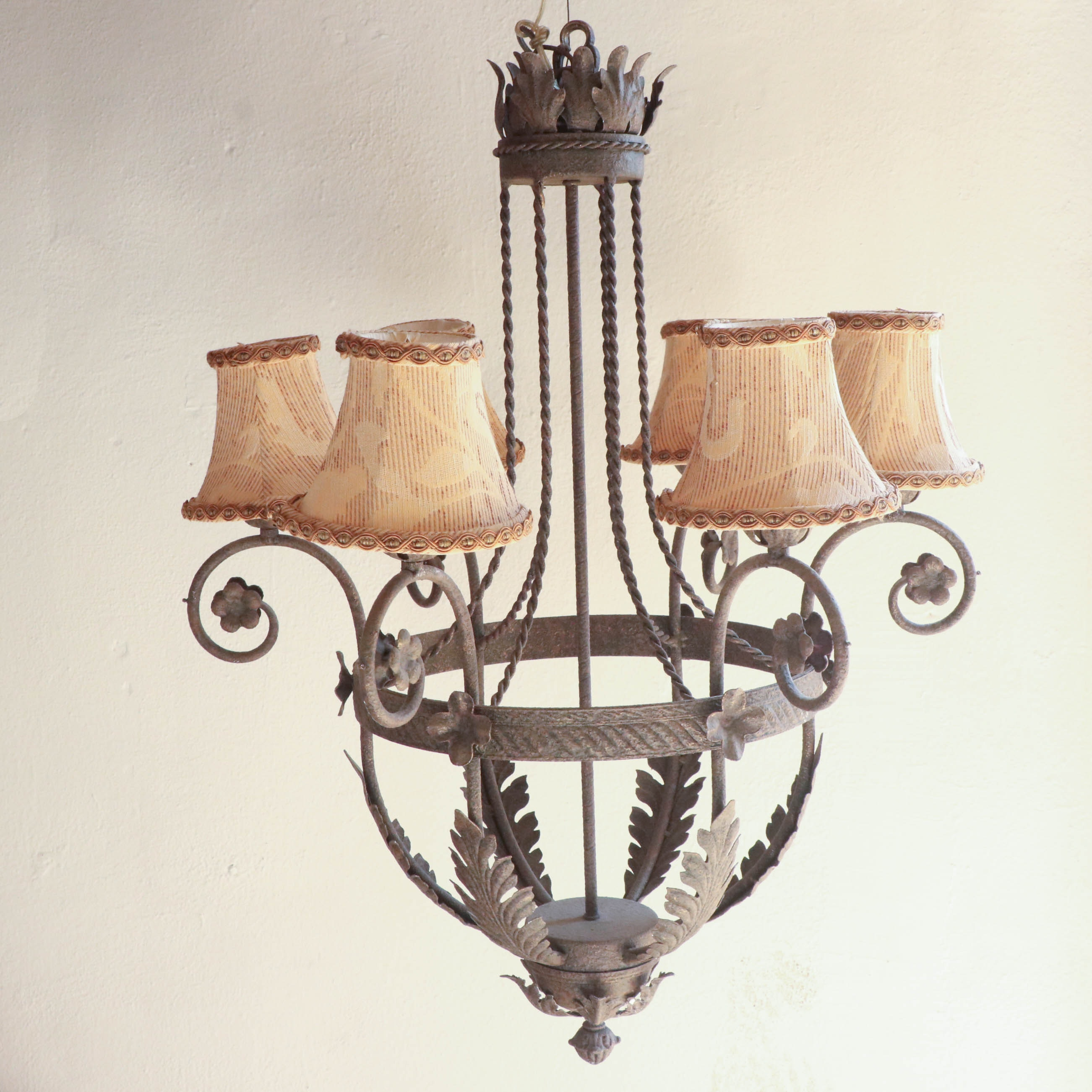 Acanthus Leaf Motif Six-Arm Metal Chandelier with Antiqued Finish
