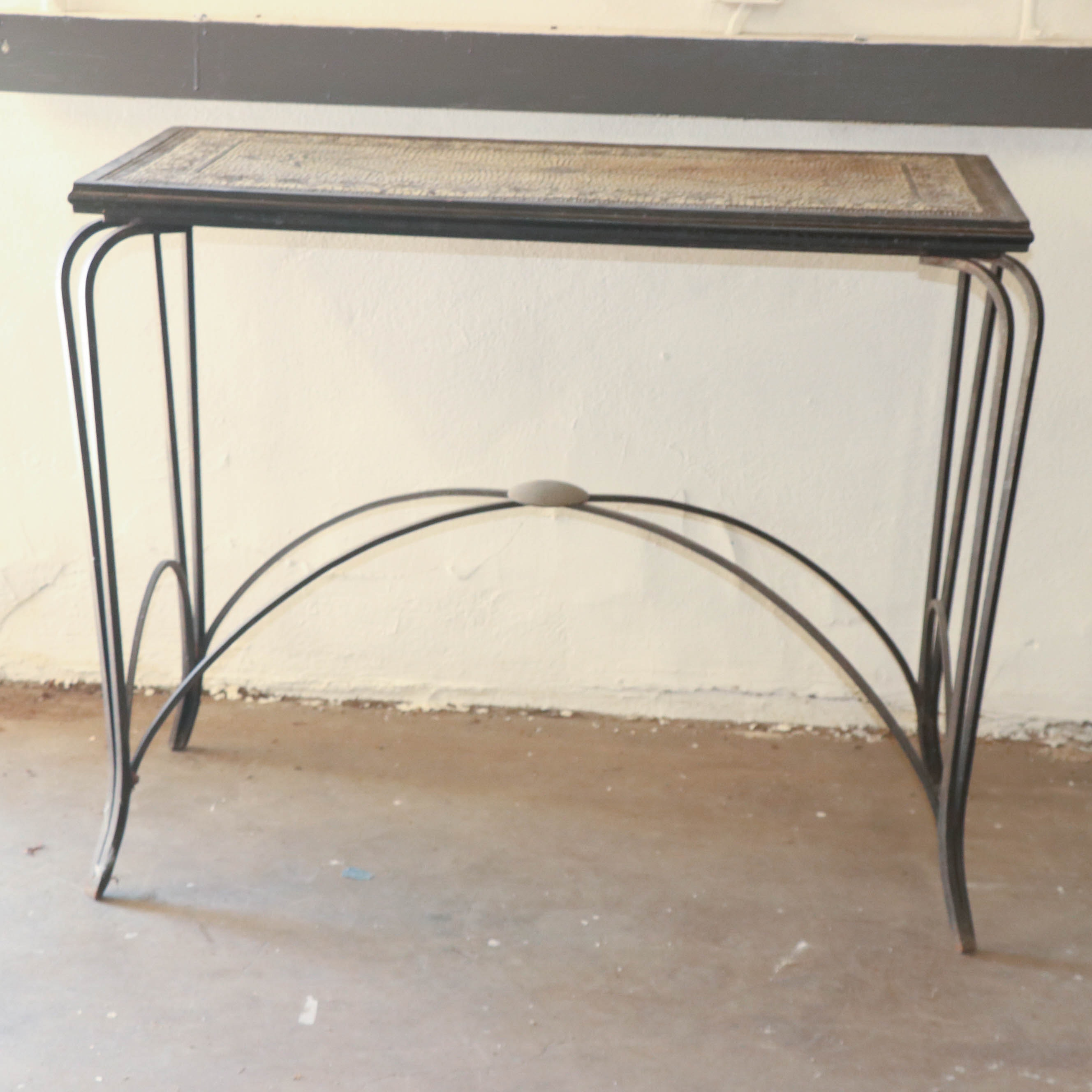Mosaic Top Metal Console Table