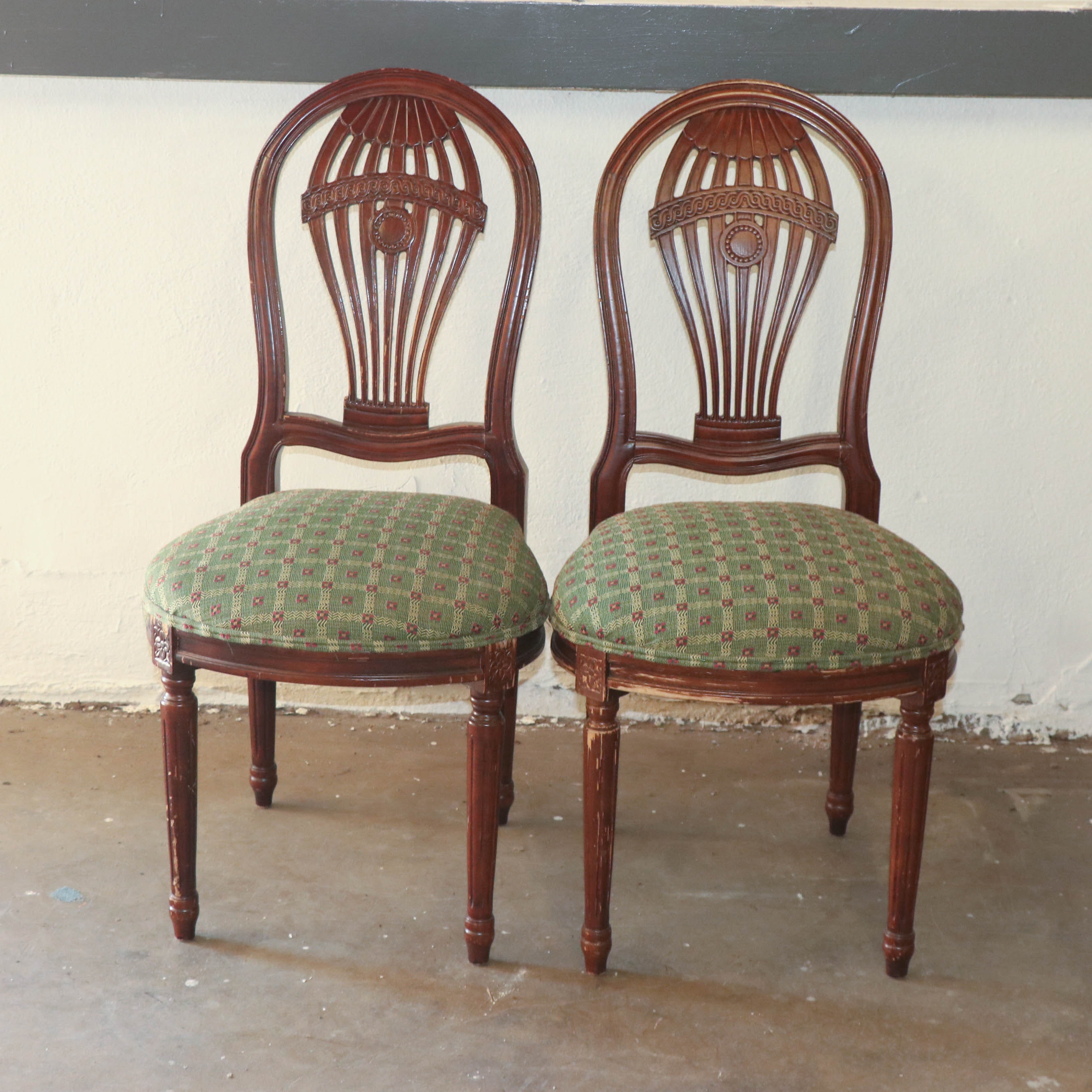 Pair of George III Style Mahogany Finish Side Chairs, 20th Century