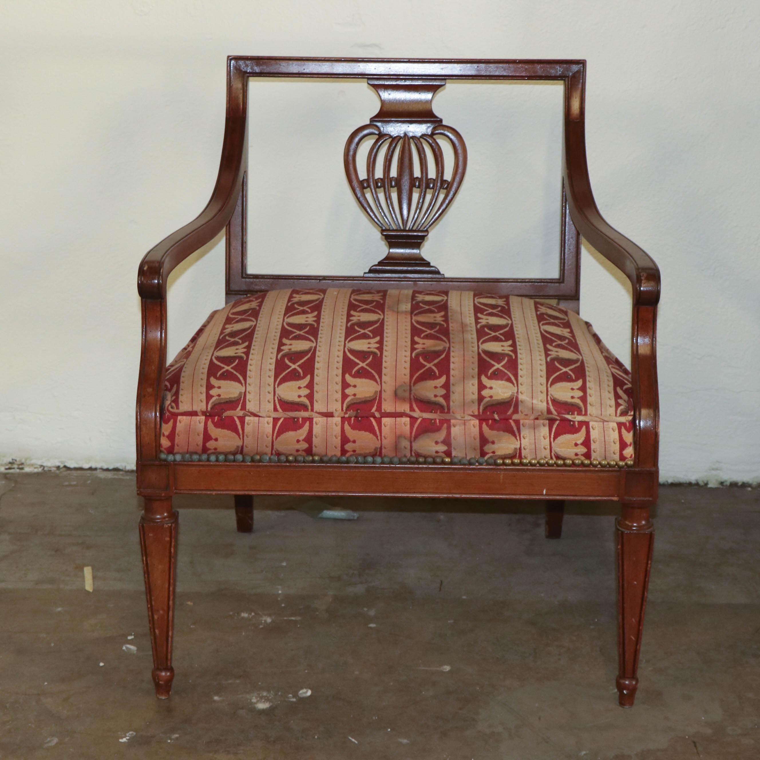 George III Style Pierced Back Mahogany Armchair, Late 20th Century