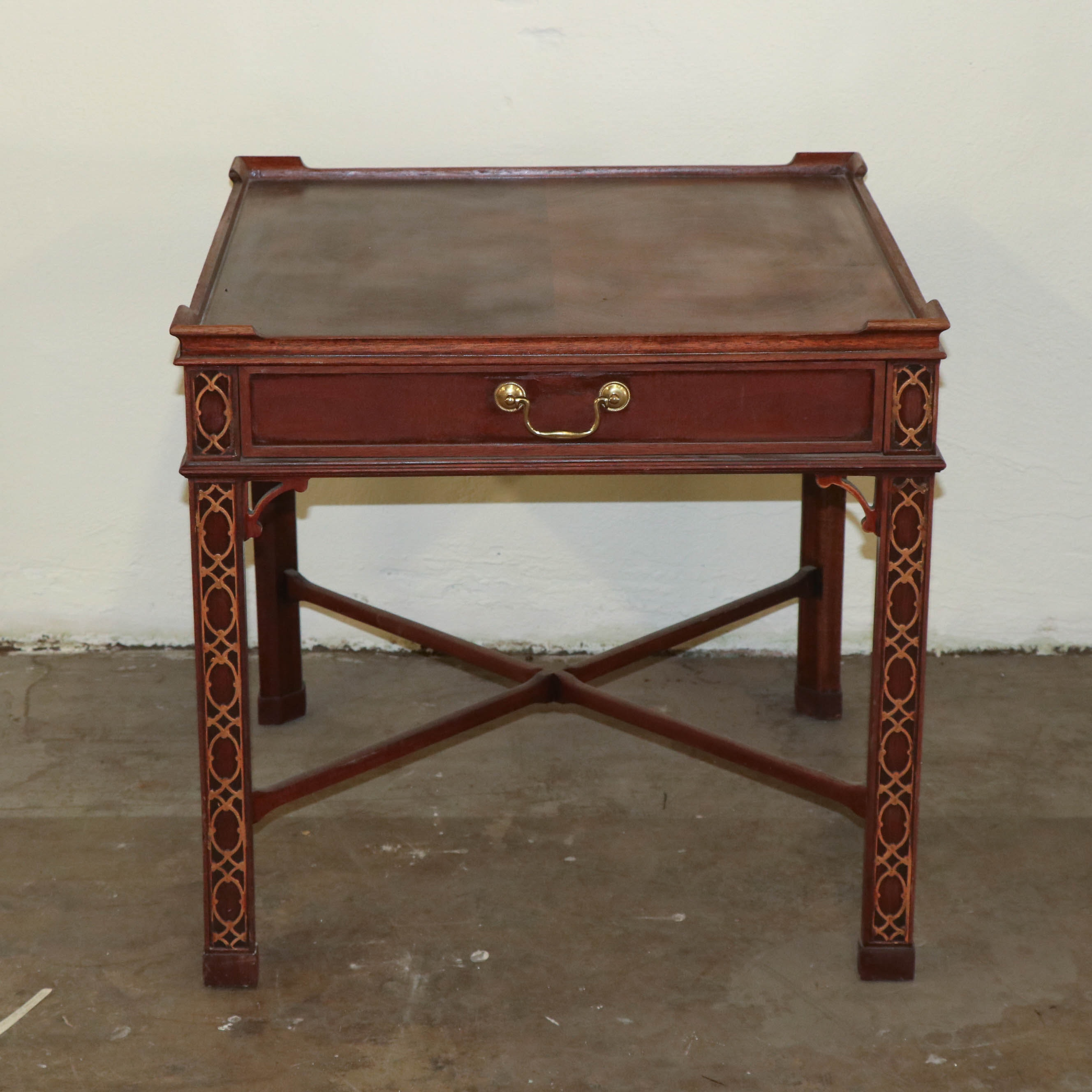 Chinese Chippendale Style Side Table by Baker Furniture, Late 20th Century