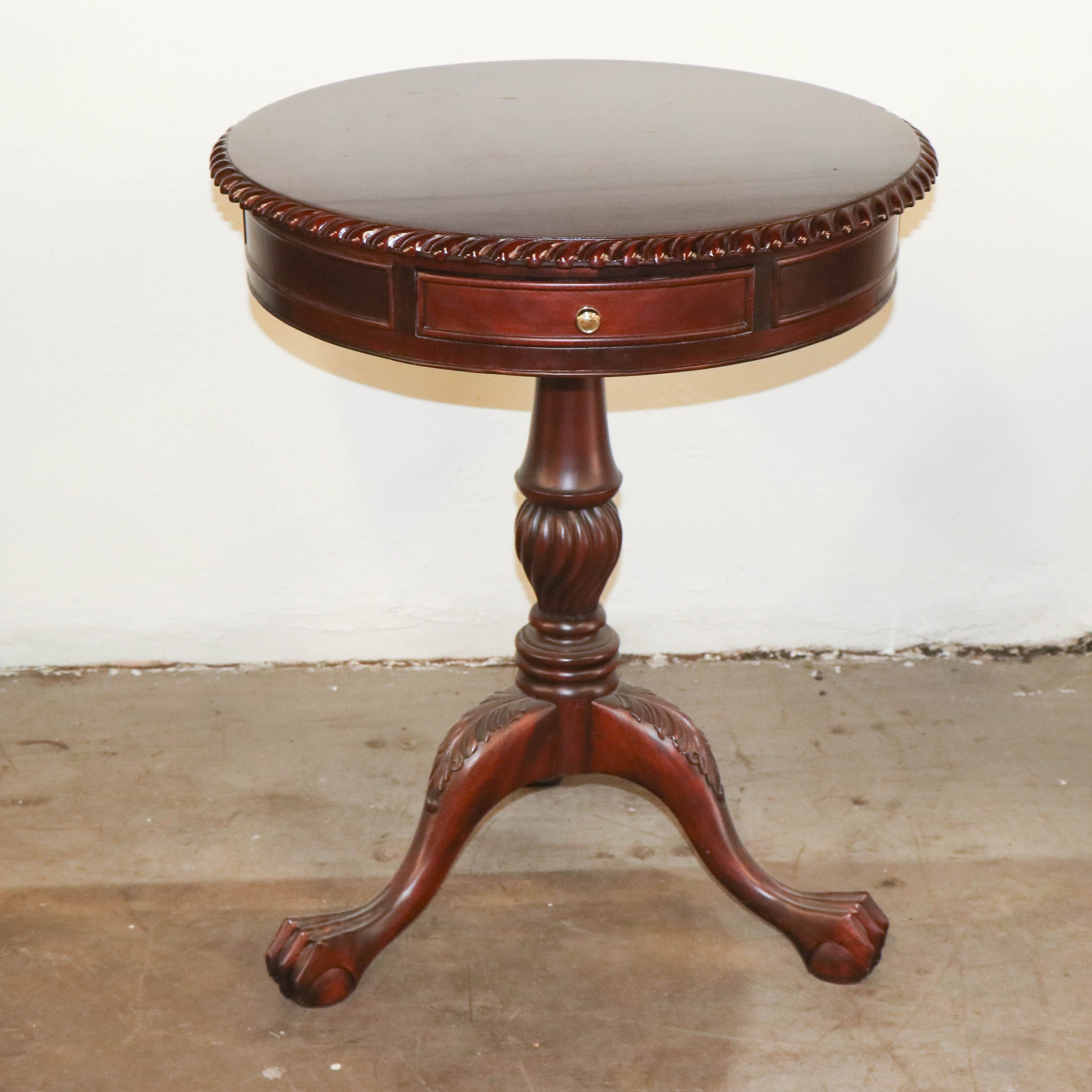 Federal Style Mahogany Finish Drum Table, Late 20th Century