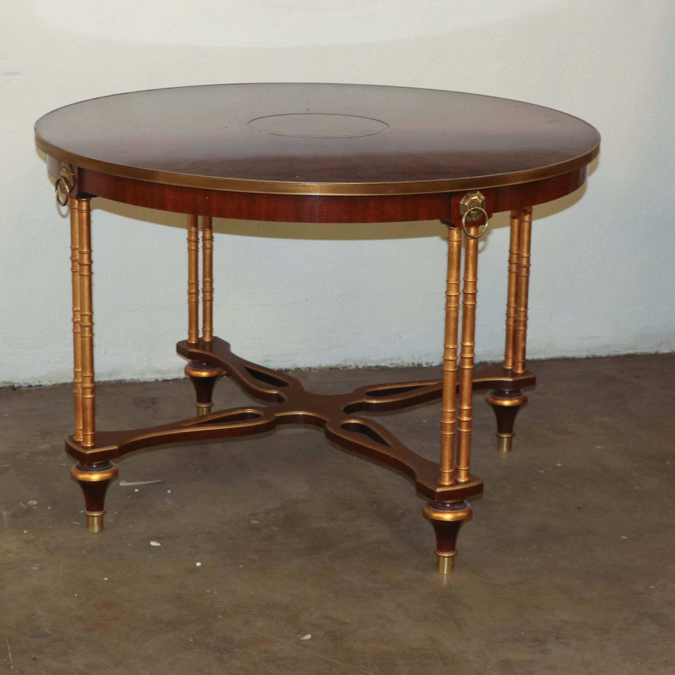 Neoclassical Style Giltwood and Mahogany Dining Table, 20th Century