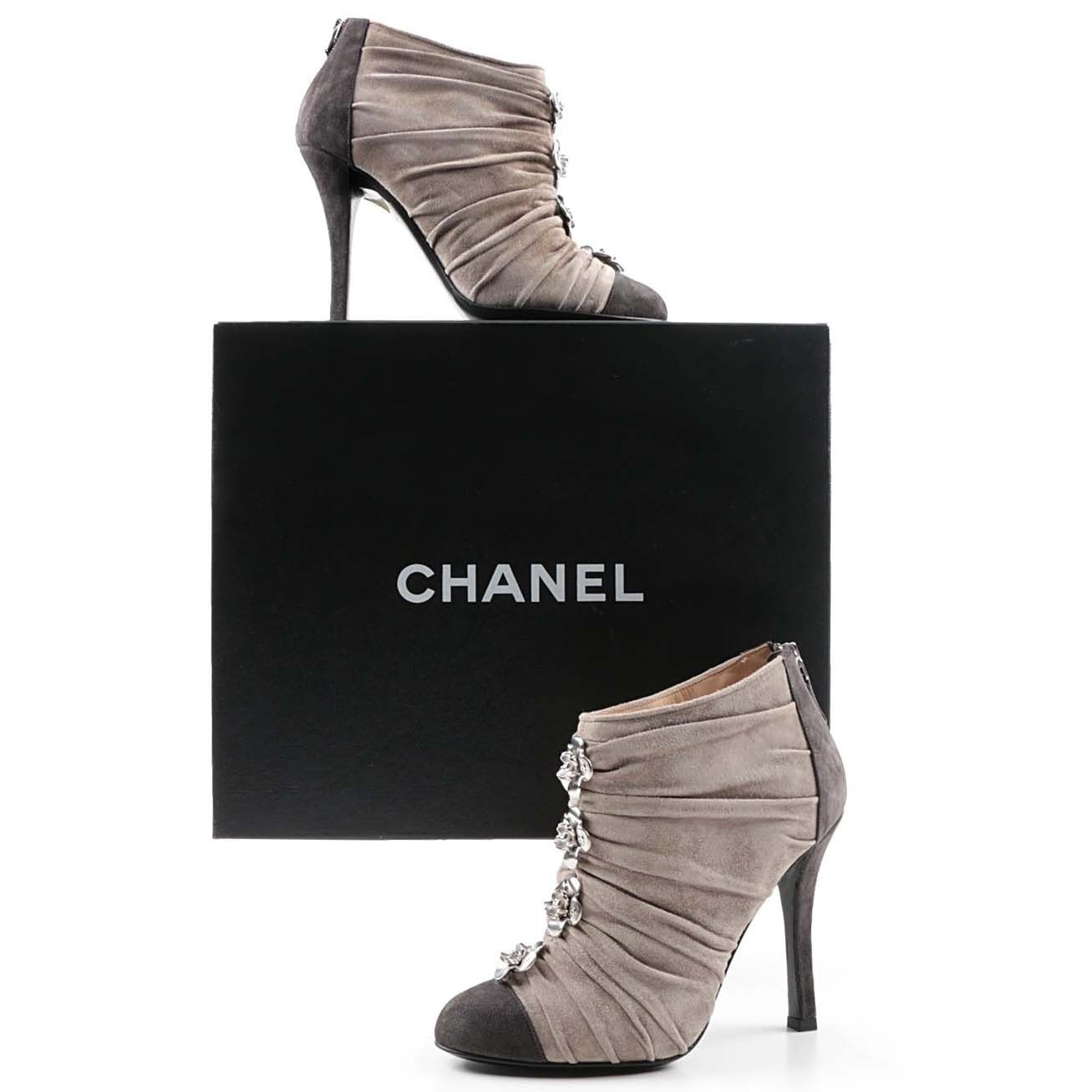 Chanel Ruched Gray Suede Cap Toe High-Heeled Booties with Camellia Buttons