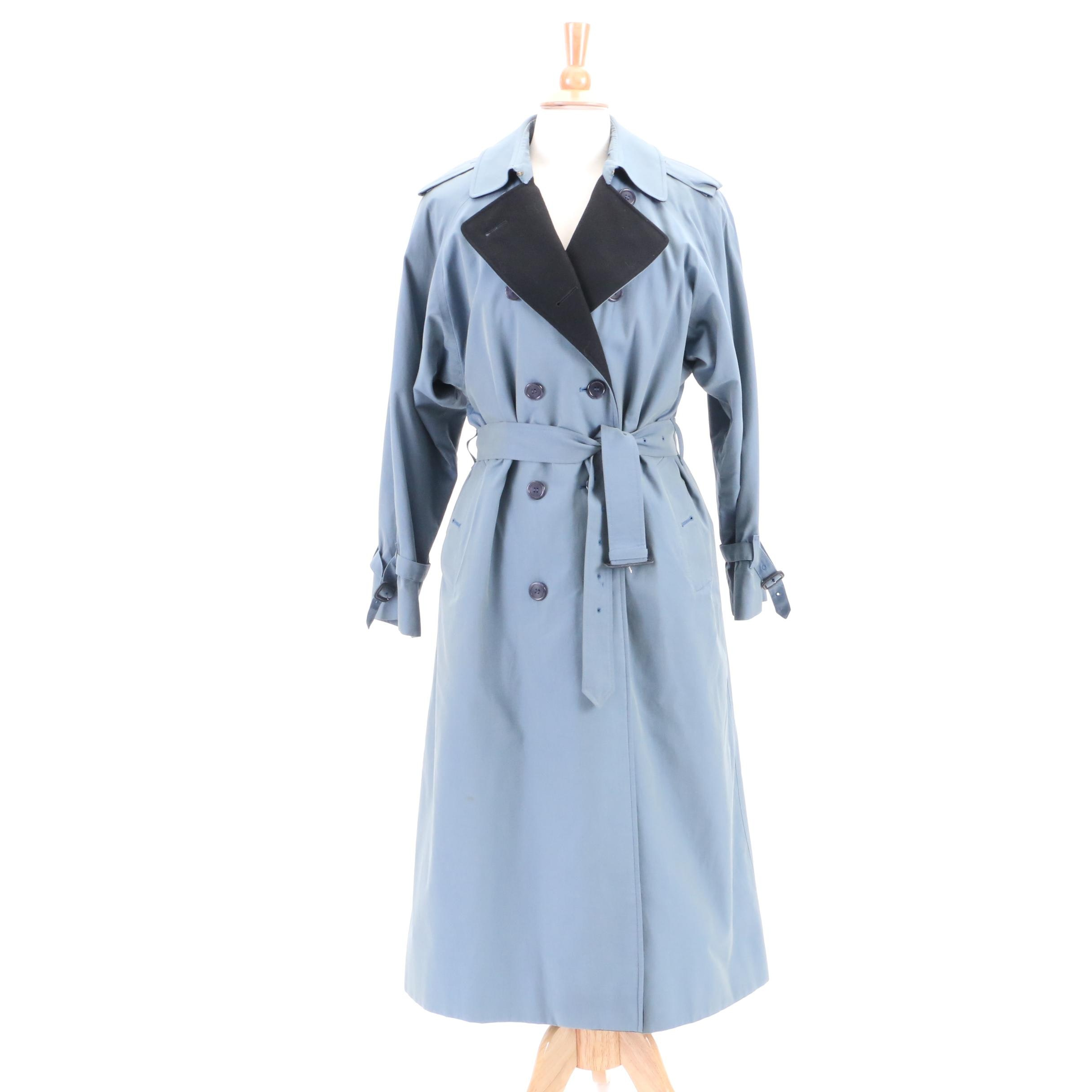 Women's Vintage Burberrys Blue Double-Breasted Trench Coat