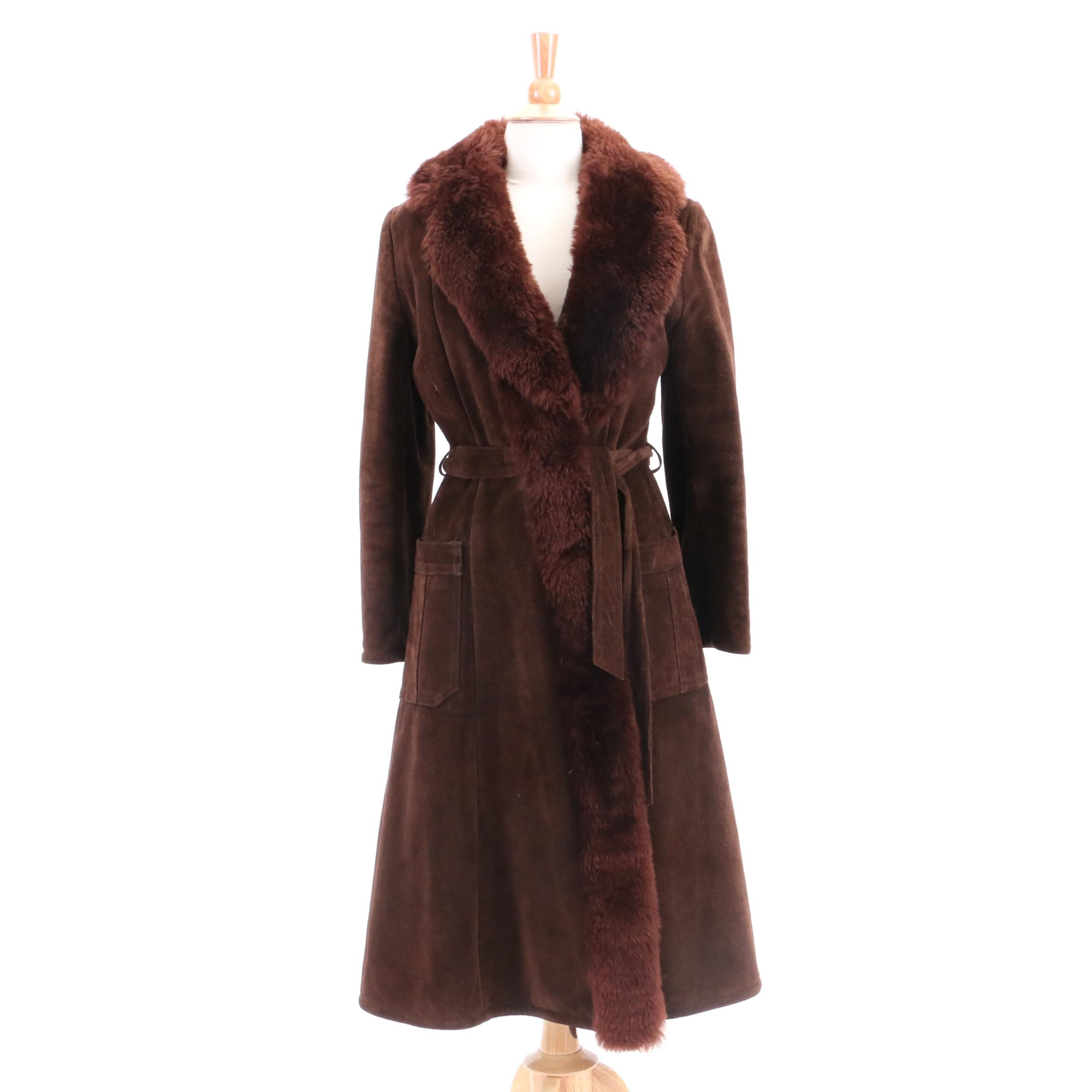 Vintage Saks Fifth Avenue Dyed Sheepskin Suede and Shearling Coat