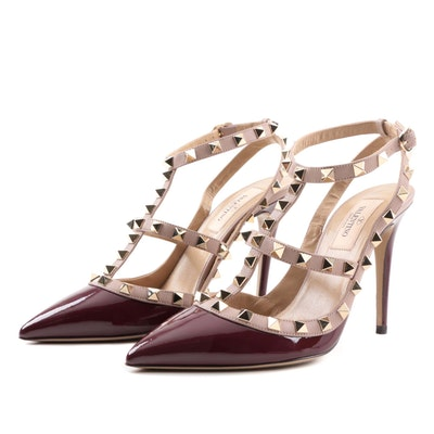 Valentino Garavani Rockstud Patent and Matte Leather Studded Stiletto Pumps