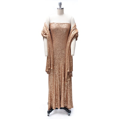 Donna Karan New York Label Gold Sequined Cashmere Gown and Wrap