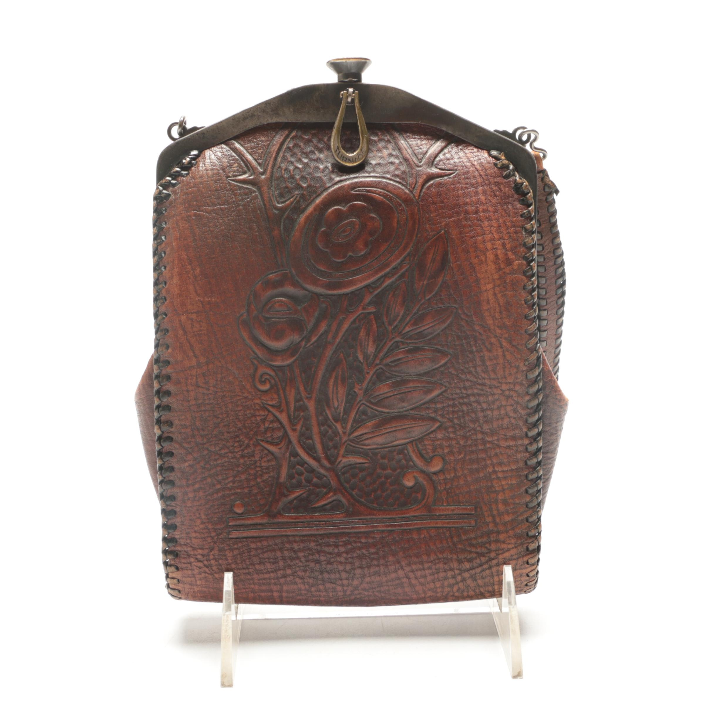 1910s Antique Nocona Bags Arts & Crafts Tooled Leather Frame Bag