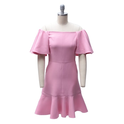 Valentino Pink Wool and Silk Off-The-Shoulder Ruffled Mini Dress