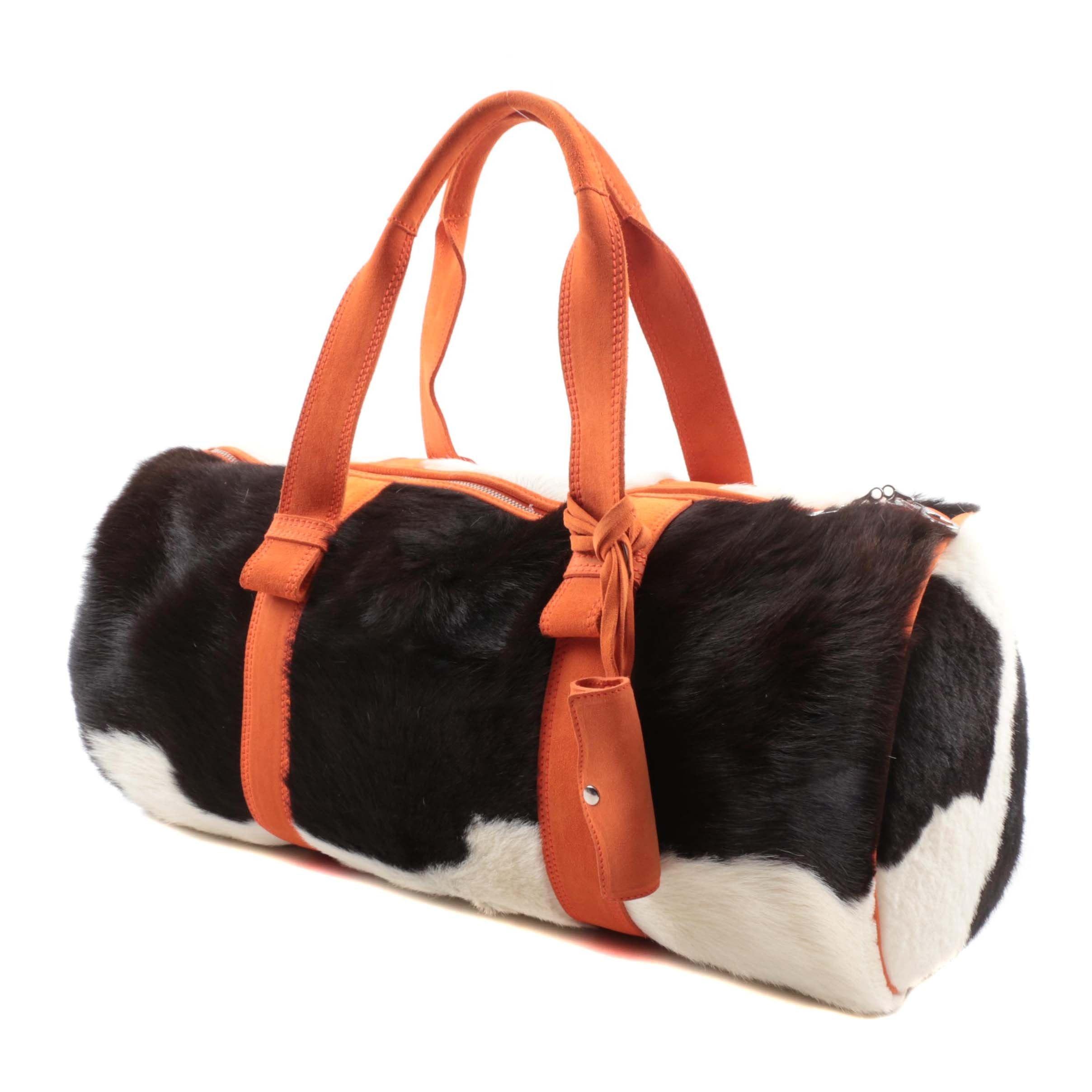 Bottega Veneta Calf Hair and Orange Leather Weekend Duffel Bag