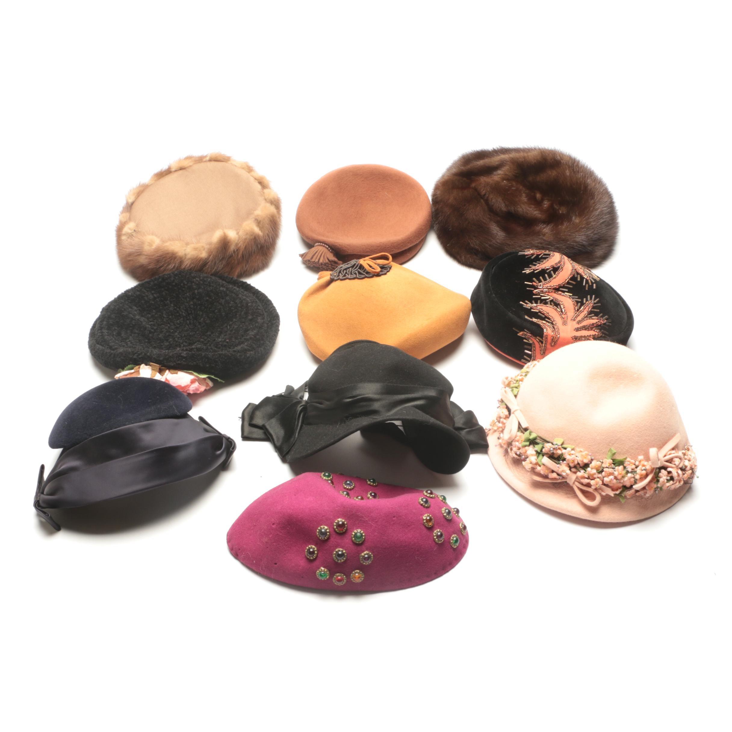 Circa 1940s Vintage Hats Including Mink Fur
