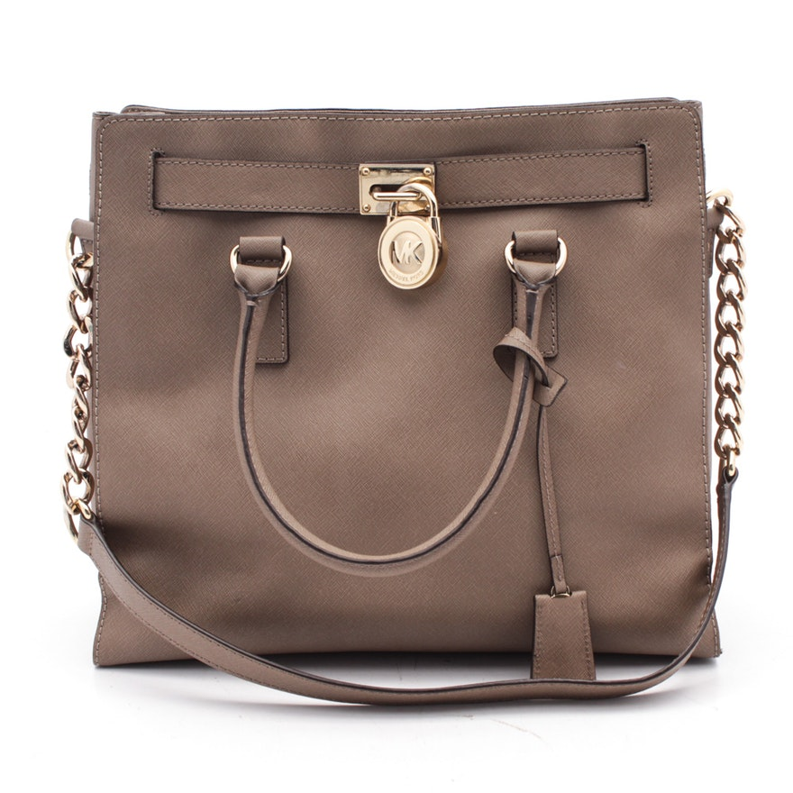 d37679fc1bbe7d MICHAEL Michael Kors Taupe Crosshatched Saffiano Leather Shoulder Bag : EBTH