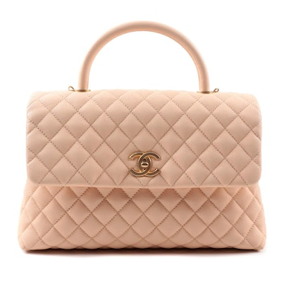 Chanel Caviar Quilted Medium Coco Handle Flap Handbag in Light Beige