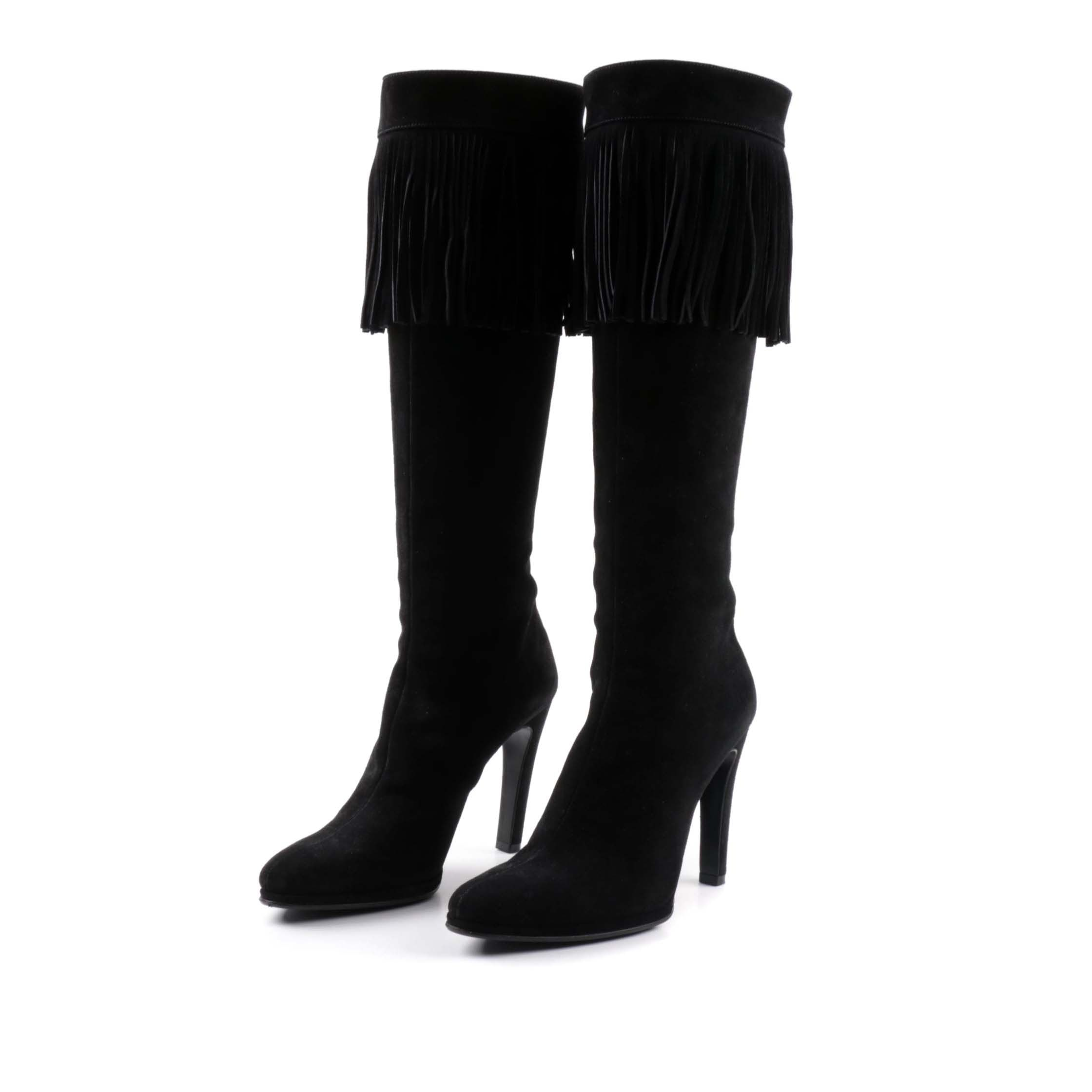 Helmut Lang Black Suede Knee-High Fringe Boots