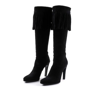 Helmut Lang Black Suede Knee-High Fringe Boots