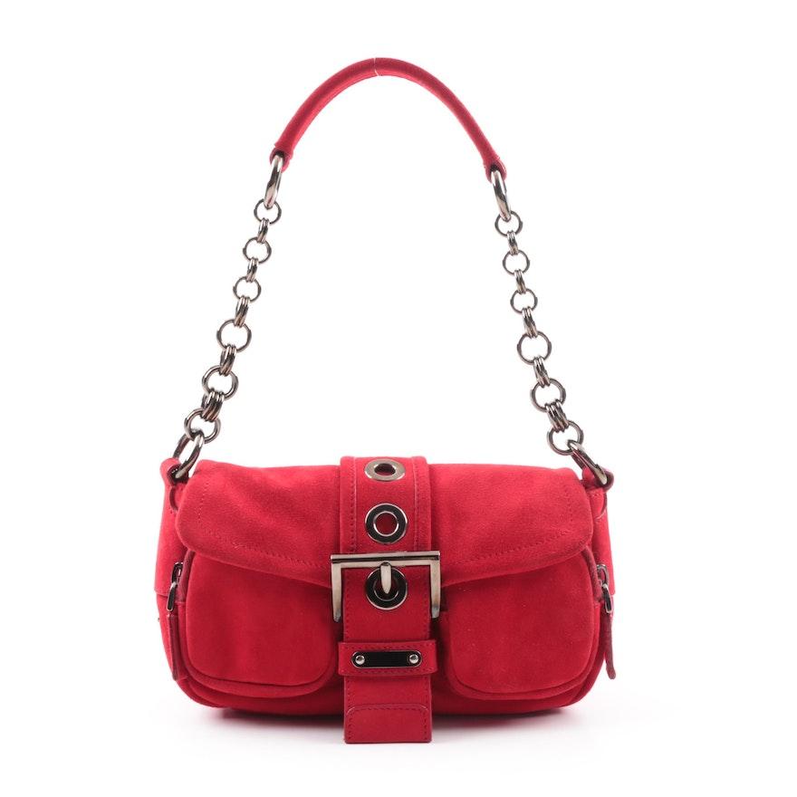 Prada Camoscio Micro Red Suede Baguette Shoulder Bag   EBTH 9455aca937be9