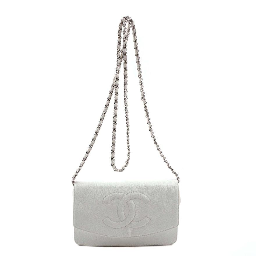 2f0b8bd7a008 Chanel Logo White Leather Crossbody Mini Bag   EBTH