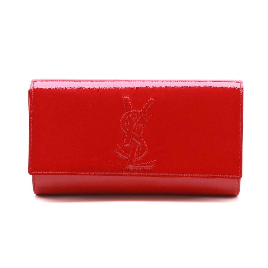 Yves Saint Laurent Sac De Jour Red Patent Leather Clutch   EBTH 7e6db54255