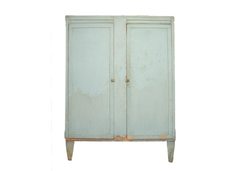 Blue Painted Repurposed Wooden Crate Wardrobe