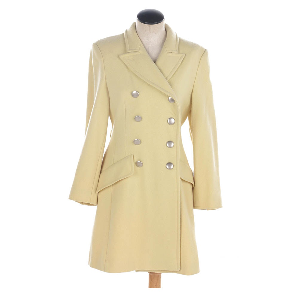 Sportmax Pale Yellow Wool Blend Double-Breasted Coat, Made in Italy