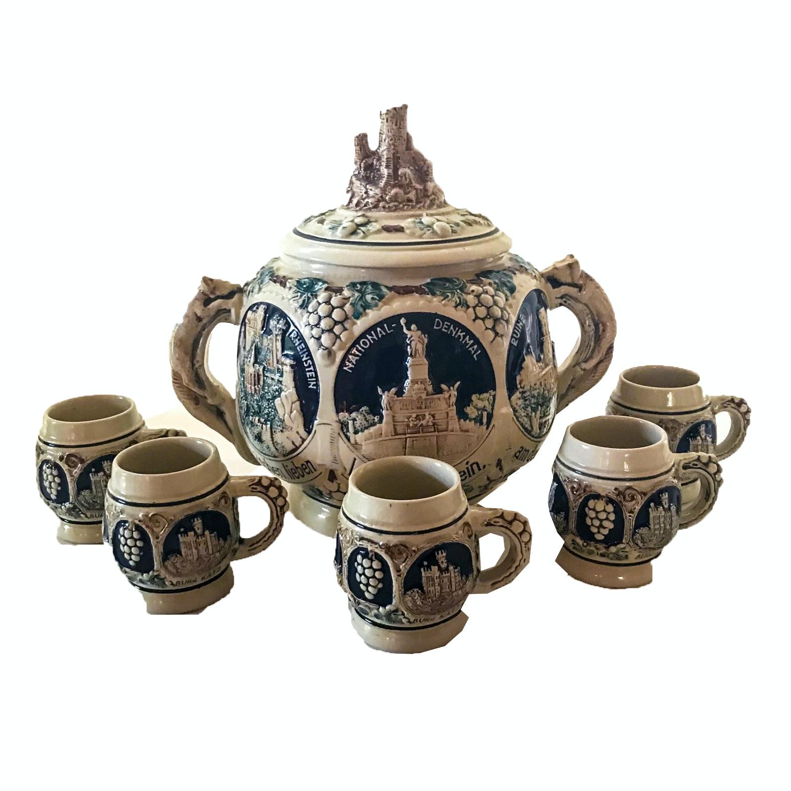 Vintage Gerz Germany Stoneware Punch Bowl and Mugs